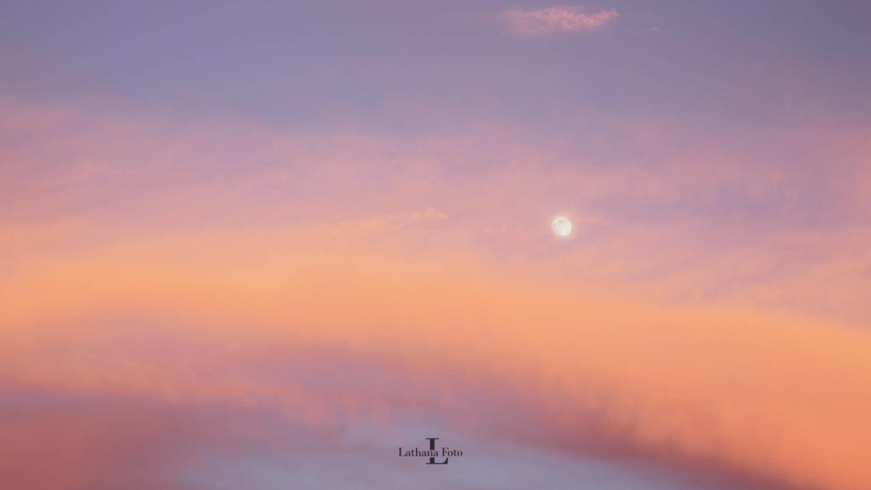 160519 Månen i lyset fra solnedgangen