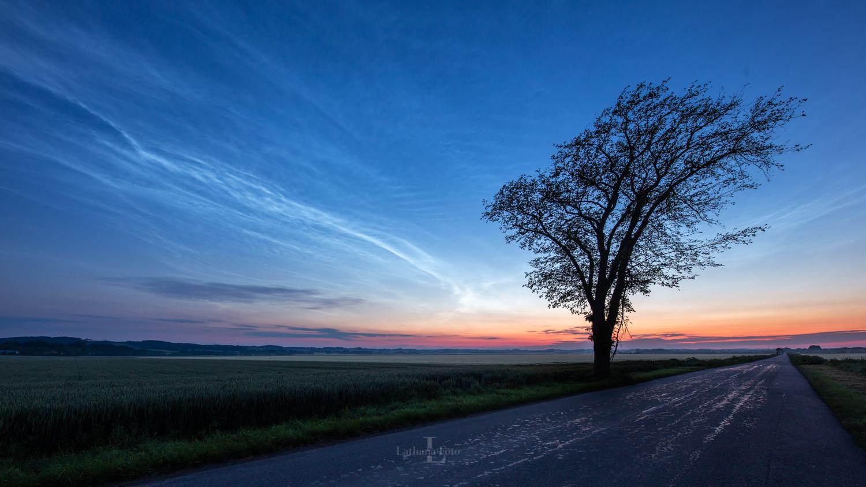 180619 Lysende natskyer samen med morgenrøden, Tuborgvej, Fårevejle